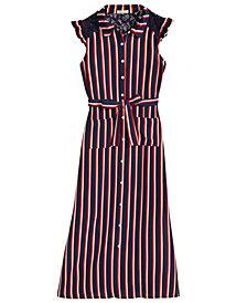 Monteau Big Girls Striped Maxi Shirtdress