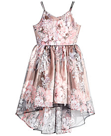 Pink & Violet Big Girls Floral-Print Overlay Dress