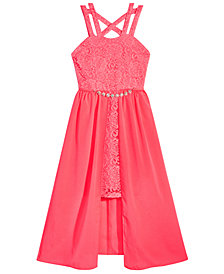 Pink & Violet Big Girls Glitter Lace Overskirt Dress