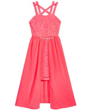 Pink & Violet Big Girls Glitter Lace Overskirt Dress 6016869