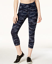 Calvin Klein Performance Camo-Print High-Waist Cropped Leggings