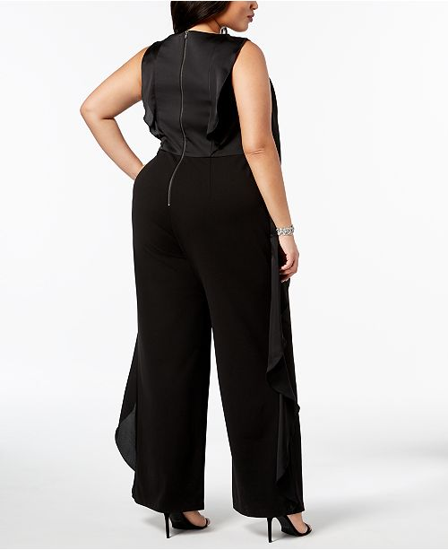 Size Jumpsuit Plus Black Ruffle Trim Adrianna Papell BxPgXqnqE