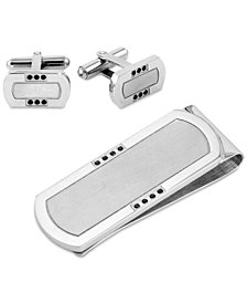 Men's Diamond 2-Pc. Set (1/6 ct. t.w.) Cuff Links & Money Clip in Stainless Steel