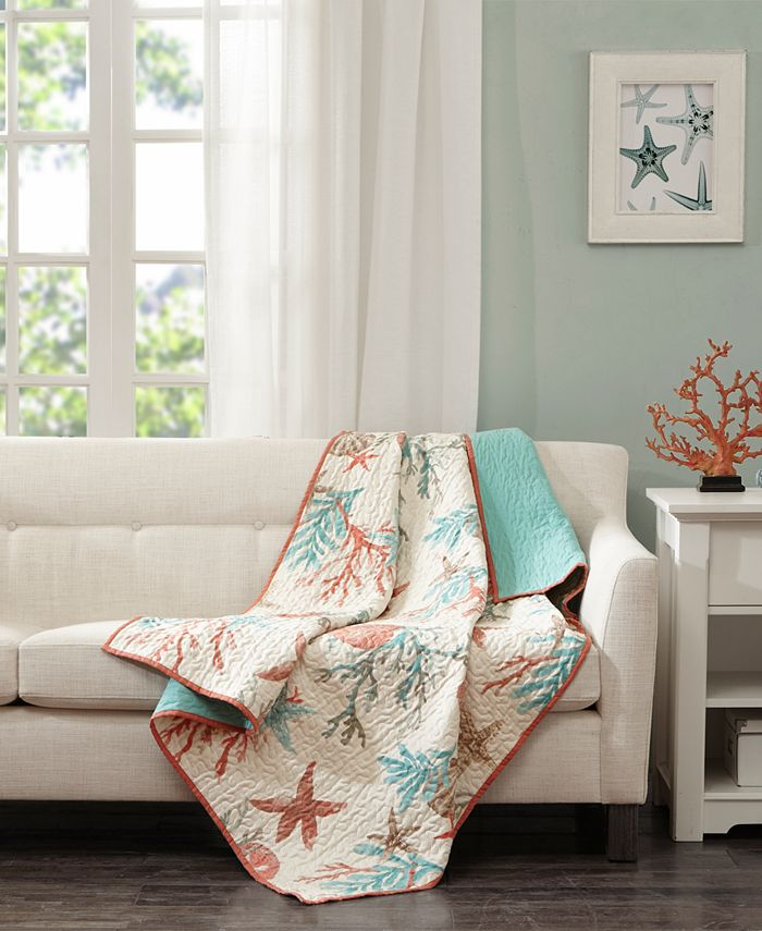 """Madison Park - Pebble Beach Oversized Reversible 50"""" x 70"""" Quilted Printed Throw"""