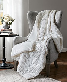 "Madison Park Arctic 50"" x 60"" Checkerboard Ultra Plush Faux-Fur Down Alternative Throw"