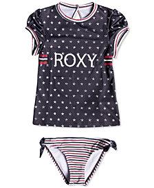 Roxy 2-Pc. Stars & Stripes Rash Guard Swim Set, Little Girls