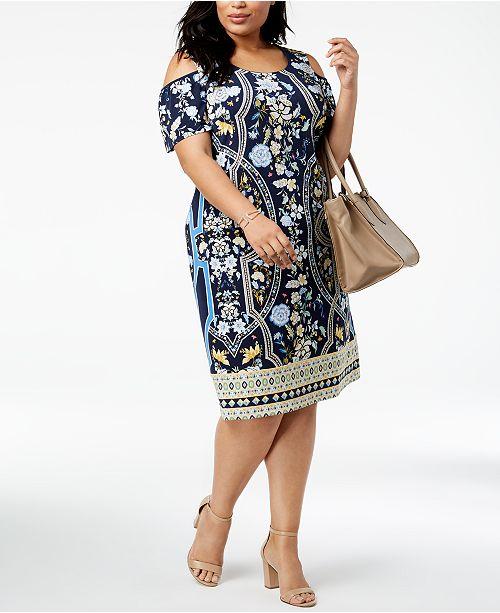 JM Collection Plus Size Printed Cold-Shoulder Sheath Dress, Created ...