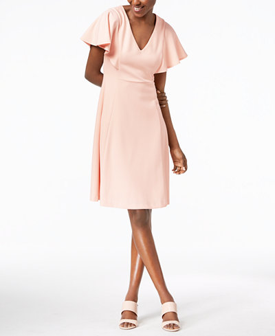 Calvin Klein Flutter Sleeve A Line Dress Dresses Women