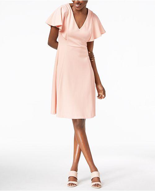 Calvin Klein Flutter Sleeve A-Line Dress