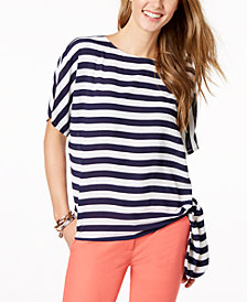 MICHAEL Michael Kors Petite Striped Side-Tie Top