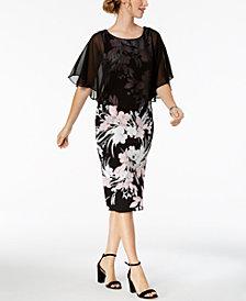 Connected Floral-Print Chiffon Cape Dress