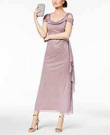 R & M Richards Petite Glitter Cold-Shoulder Gown