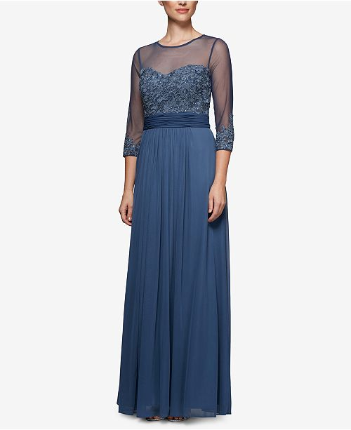 Alex Evenings Gown Sweetheart Embroidered Violet r6r8wxPvqd
