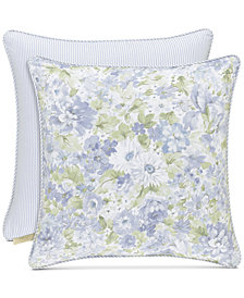 "Piper & Wright Flower Bed Blue 20"" Square Decorative Pillow"