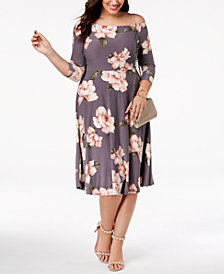Soprano Trendy Plus Size Off-The-Shoulder A-Line Dress