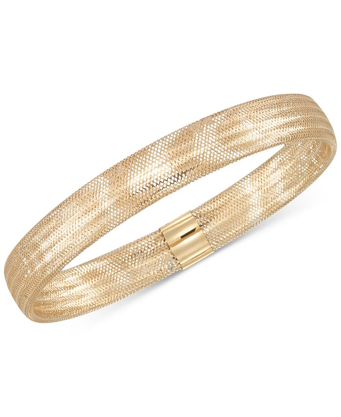 Italian Gold - Stretch Bangle Bracelet in 14k Yellow, White or Rose Gold