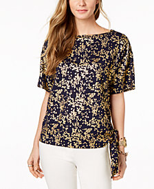 MICHAEL Michael Kors Floral-Print Tie-Hem Top, In Regular & Petite Sizes