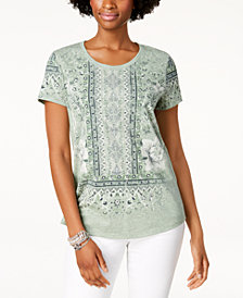 Style & Co Graphic Scoop-Neck T-Shirt, Created for Macy's