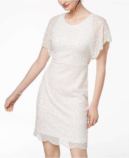 Dress Embellished Flutter Sheath Sleeve Adrianna Ivory Papell 7qxX58CxFn