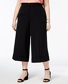 Anne Klein Plus Size Cuffed Culotte Pants