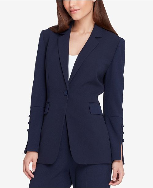 Navy ASL Crepe Regular amp; Button Tahari One Petite Pantsuit Pebble Adwq7wz