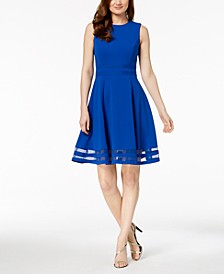 Petite Illusion-Trim Fit & Flare Dress