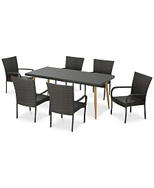 Hayden 7-Pc. Outdoor Dining Set, Quick Ship