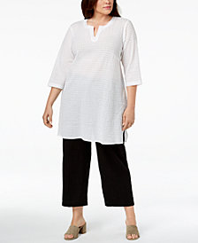 Eileen Fisher Plus Size Organic Cotton Split-Neck Textured Tunic
