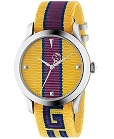 Men's Swiss G-Timeless Yellow, Purple & Blue Nylon Strap Watch 38mm