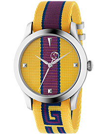 Gucci Men's Swiss G-Timeless Yellow, Purple & Blue Nylon Strap Watch 38mm
