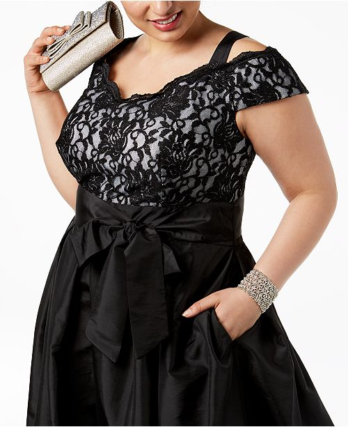 Size M amp; Richards Plus Lace Satin Glitter Gown amp; Cold Shoulder Black R xIAnTd5qI
