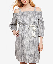 Jessica Simpson Maternity Printed Off-The-Shoulder Dress