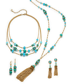Anne Klein Gold-Tone Bead & Chain Tassel Jewelry Separates