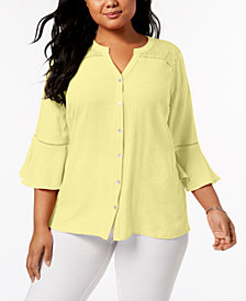NY Collection Plus Size Lace-Trim Bell-Sleeve Blouse