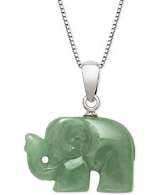 Dyed Green Jadeite Carved Elephant Pendant Necklace in Sterling Silver