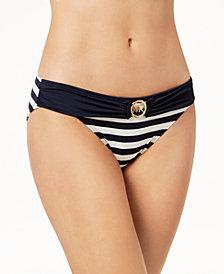 MICHAEL Michael Kors Striped Logo Bikini Bottoms