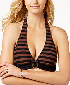 MICHAEL Michael Kors Striped Logo Halter Bikini Top