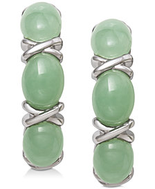 Dyed Jadeite (5mm x 7mm) Curved Drop Earrings in Sterling Silver