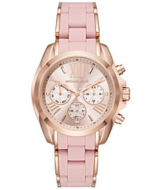 Michael Kors Women's Chronograph Bradshaw Rose Gold-Tone Stainless Steel & Pink Silicone Bracelet Watch 40mm