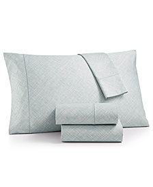 Hotel Collection Cotton 525-Thread Count 4-Pc. Crosshatch Queen Sheet Set, Created for Macy's