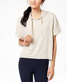 Calvin Klein Performance Relaxed Short-Sleeve Cropped Hoodie