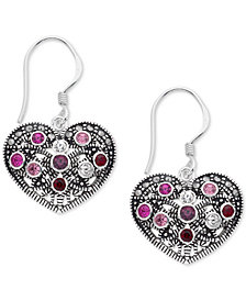 Marcasite & Crystal Heart Drop Earrings in Fine Silver-Plate