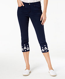 Charter Club Tummy-Control Embroidered Capri Jeans, Created for Macy's