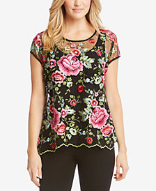 Karen Kane Sheer Embroidered Top