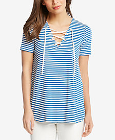 Karen Kane Striped Lace-Up Top