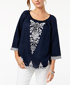 Charter Club Linen Embroidered Off-The-Shoulder Top