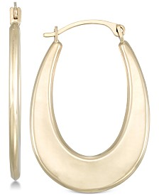 Polished Graduated Oval Hoop Earrings in 10k Gold