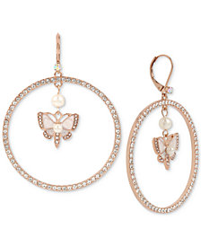 Betsey Johnson Rose Gold-Tone Crystal & Imitation Pearl Butterfly Drop Hoop Earrings