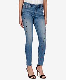 Lucky Brand Ava Embroidered-Bug Skinny Jeans