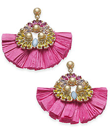 I.N.C. Gold-Tone Stone & Raffia Fan Drop Earrings, Created for Macy's